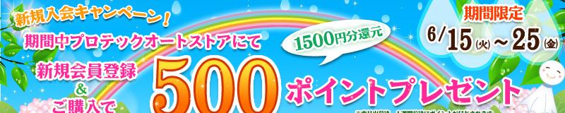 新規会員登録で500ポイント進呈キャンペーン!